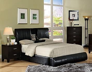 furniture of america martie upholstered platform king bed with fliptray dark espresso