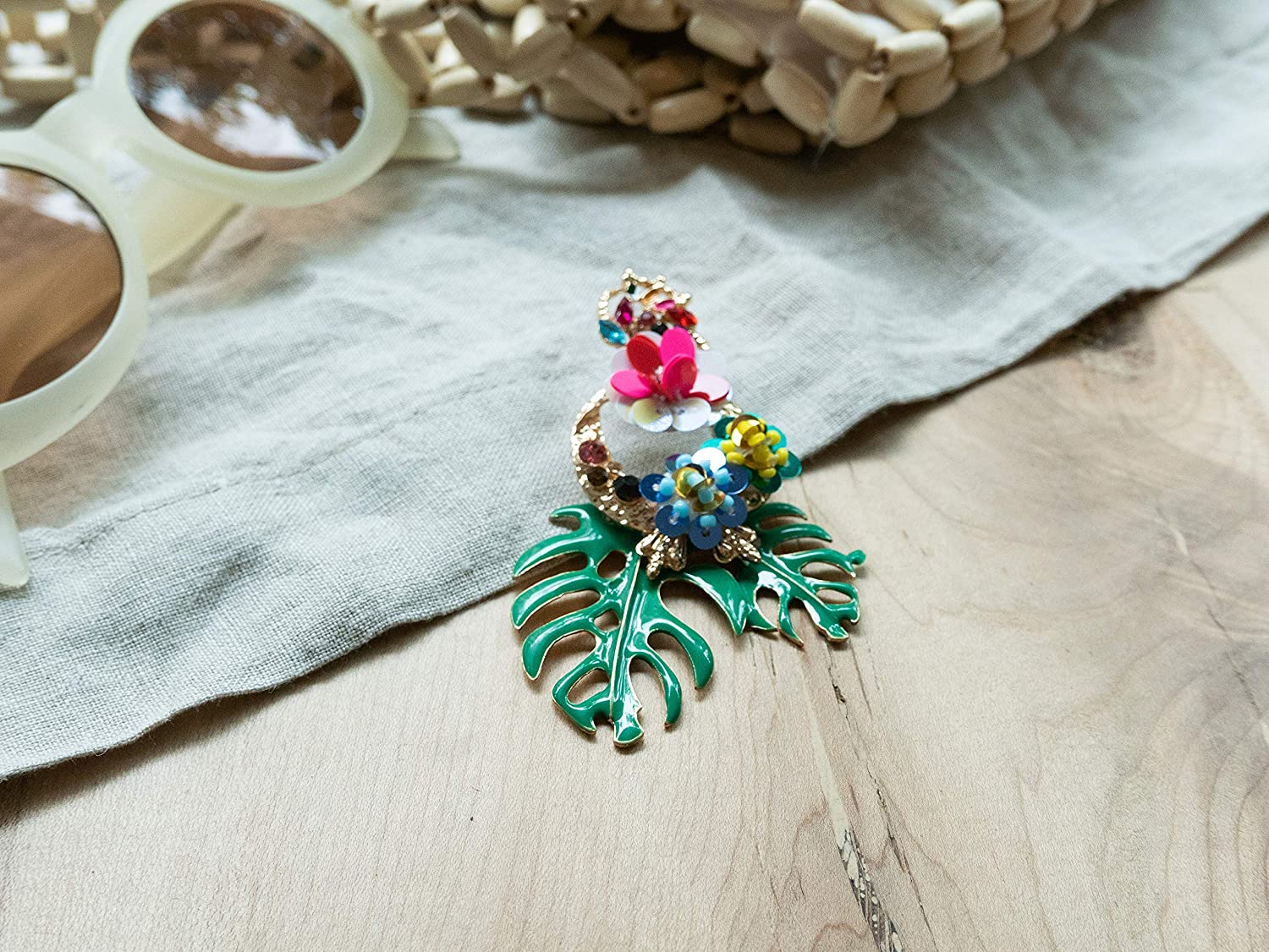 Chamonix NYC Tropical Exotic Artsy Vacation Earrings//Summer Earrings//Flower Earrings//Designing Earrings