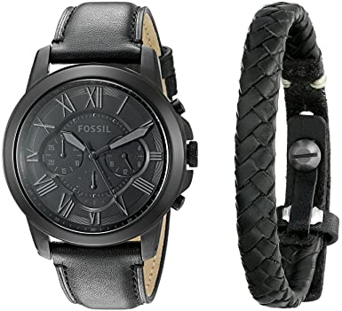 55c852182 Image Unavailable. Image not available for. Color: Fossil Men's FS5147SET Grant  Chronograph Black Leather Watch ...