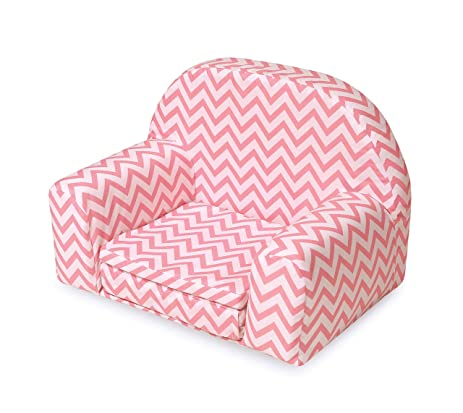 Upholstered Doll Chair With Foldout Bed   Pink Chevron (fits American Girl  Dolls)