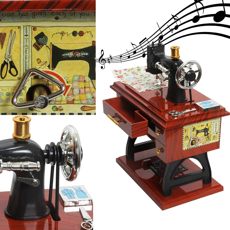 Sidiou Group Creativo clásico máquinas de coser modelo de caja de música mecánica caja de música encantadora caja de música romántica caja de música retro: ...