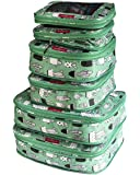 LeanTravel Compression Packing Cubes Luggage Organizers for Travel W/Double Zipper (6) Set (Green Kids)