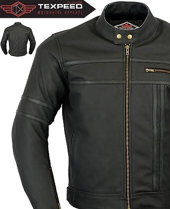 3XL US20 Mens Motorbike Leather Jacket Chopper Harley Style
