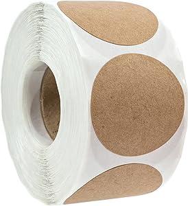 "1.5"" Natural Brown Kraft Stickers/500 labels per Roll/Permanent Adhesive"