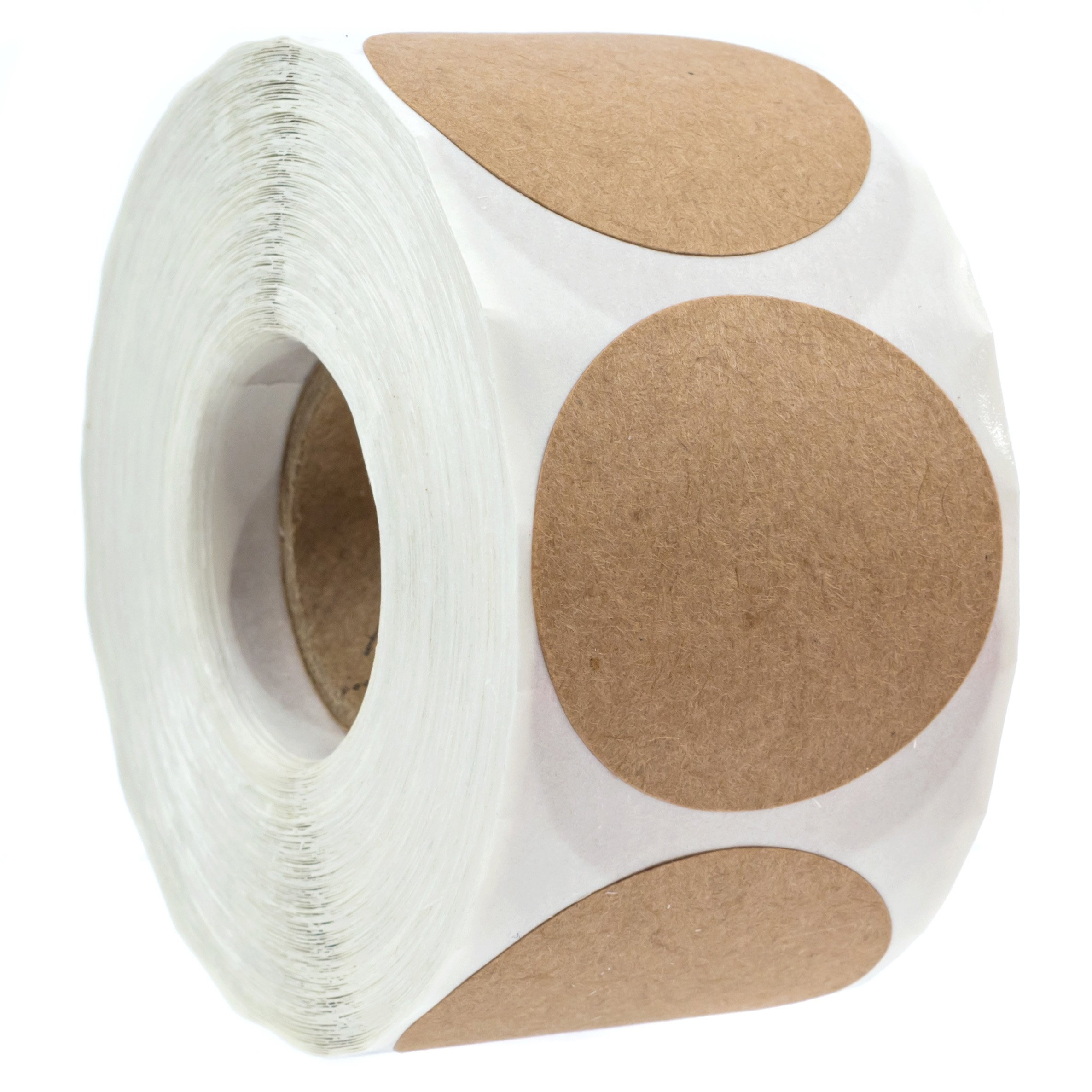 1.5'' Natural Brown Kraft Stickers/500 labels per Roll/Permanent Adhesive