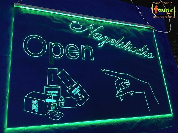 LED Cartel uñas Studio Open abierto/abierto Verde Opaco ...