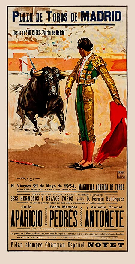 MATADOR POSTER Amazing Funny Bull Fighting Shot RARE