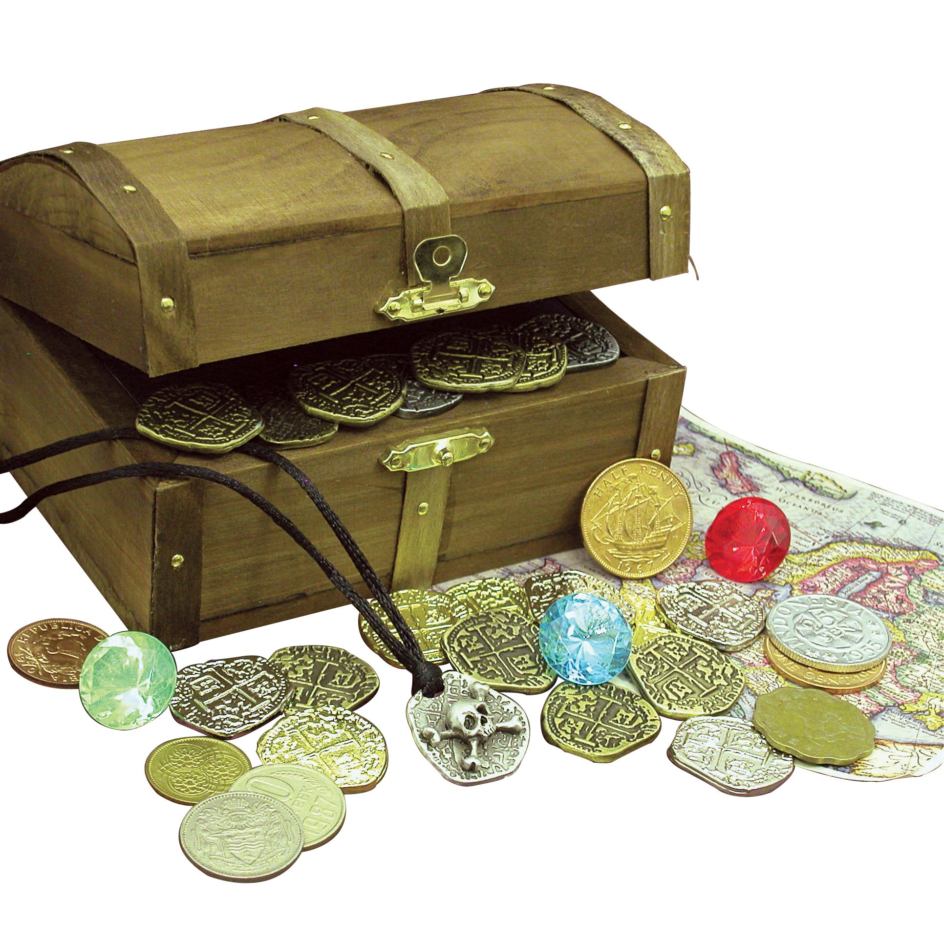 American Coin Treasures Kid's Treasure Chest with Replica Pirate Coins/Foreign Coins/Gems/Necklace Coin Jewelry by American Coin Treasures