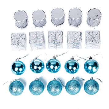 Frozen Christmas Decorations.Xena 20 Piece Elegant Modern Blue Assortment Christmas Ball Ornament Present Drum Frozen Winter Theme Gift Box Set 2 X 2 Inches Diy Holiday Present