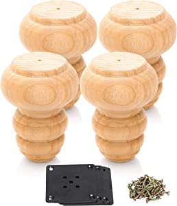 WOODINNO Unfinished Furniture Leg Bun Feet Replacement Raiser for Sofa Dresser Cabinet Tapered Round Feet with Plate Hardware Set of 4 (3 inch, Primer)