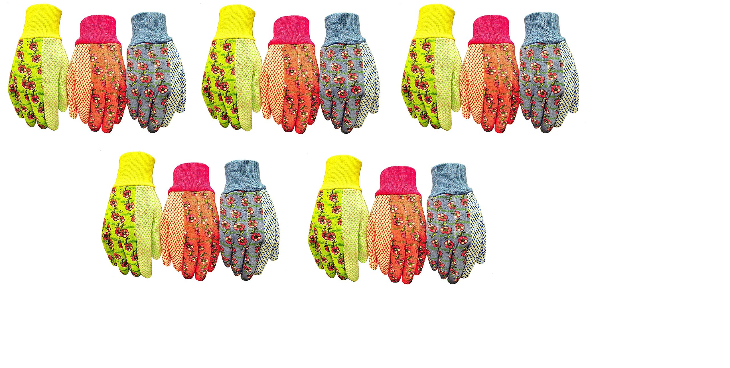 G & F 1852-3 Women Soft Jersey Garden Gloves, Women Work Gloves, 3-Pairs Green/Pink/Blue per Pack (Fivе Расk) by G & F Products (Image #1)