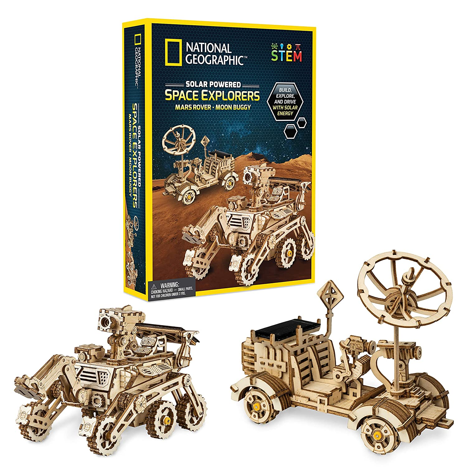 NATIONAL GEOGRAPHIC Solar Space Explorers - DIY Moon Buggy and Mars Rover Model Kit, Each Powered by a Solar Panel, Great STEM Toy for Girls and Boys Interested in Outer Space and Engineering