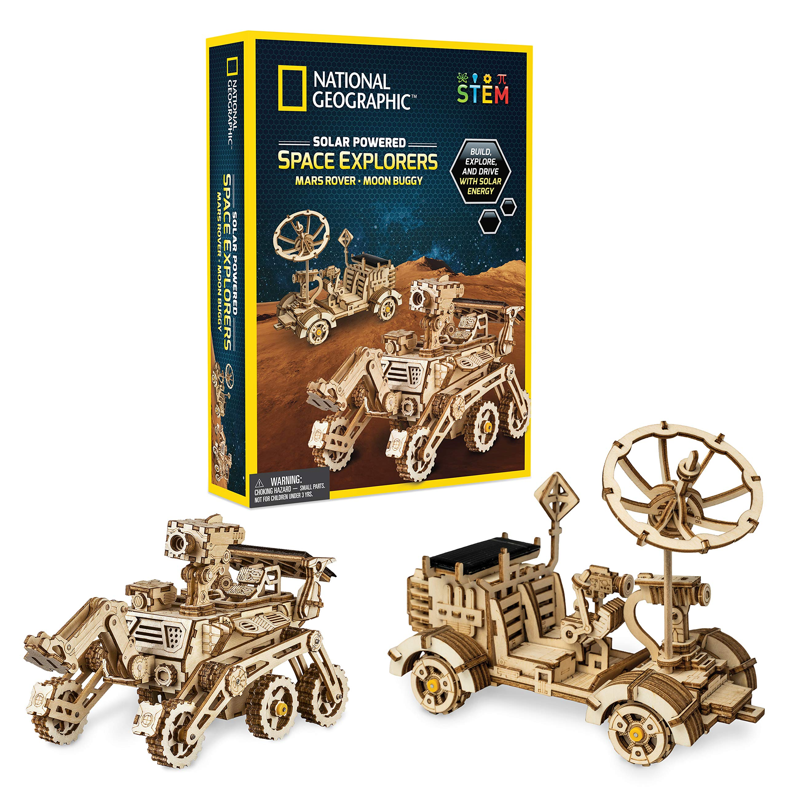 NATIONAL GEOGRAPHIC Solar Space Explorers - DIY Moon Buggy and Mars Rover Model Kit, Each Powered by a Solar Panel, Great STEM Toy for Girls and Boys Interested in Outer Space and Engineering by NATIONAL GEOGRAPHIC