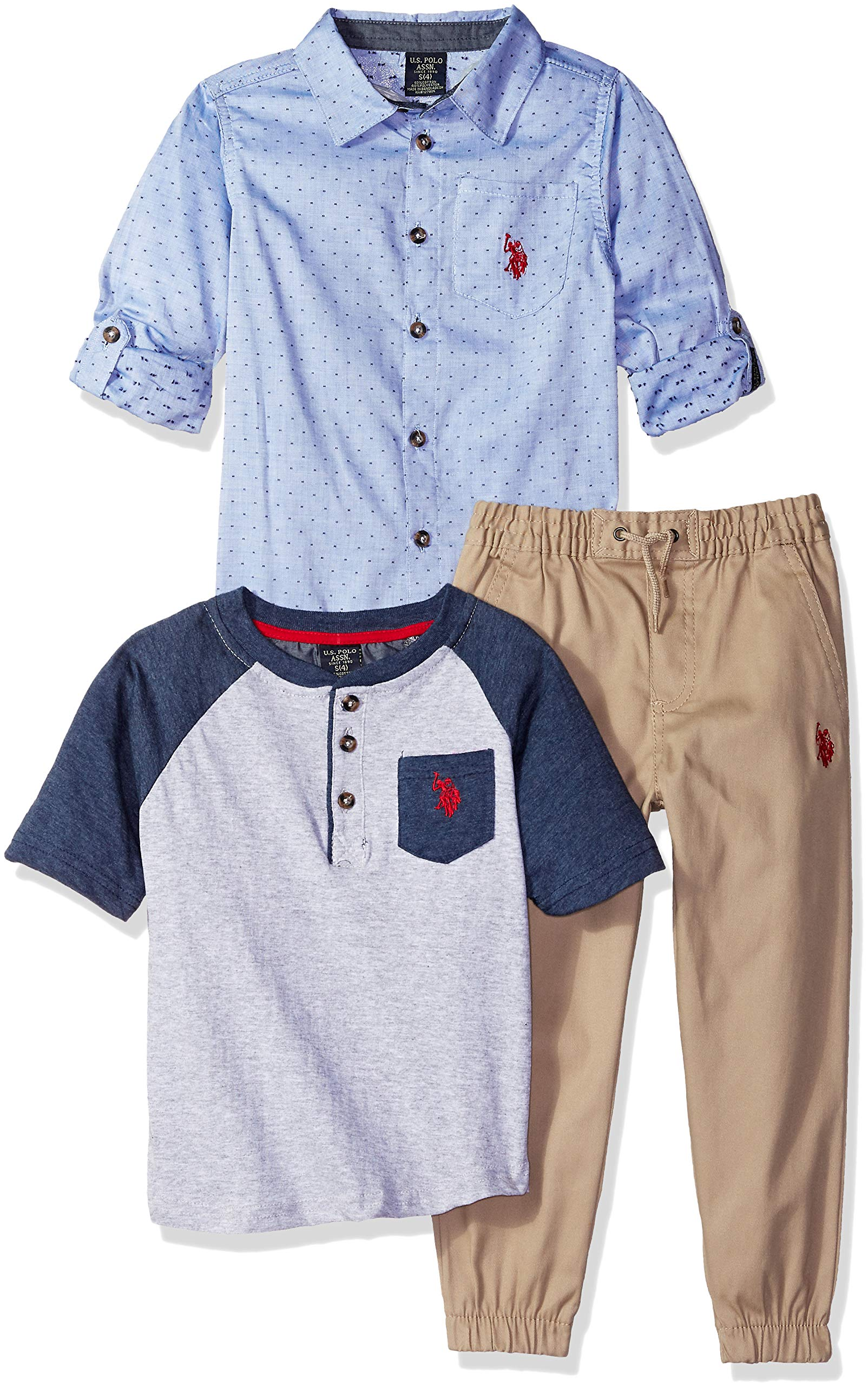 U.S. Polo Assn. Boys' Toddler Short Sleeve, T-Shirt and Pant Set, Dotted Blue Woven with Henley Multi Plaid, 4T