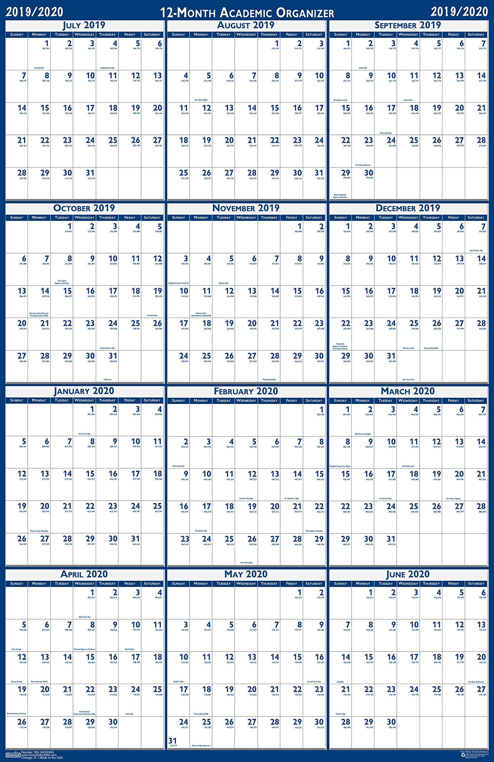 House of Doolittle 2019-2020 Laminated Academic Wall Calendar, Reversible, 24 x 37 Inches, July - June (HOD395-20) by House of Doolittle