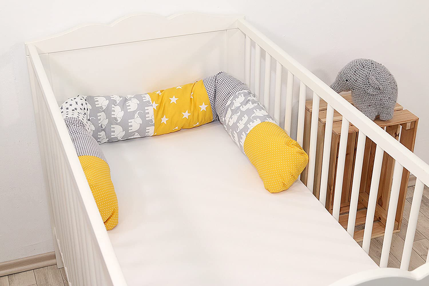 ULLENBOOM//® Bumper Snake Pillow Yellow Elephants cot Bumper/ 120x13 cm, Offers Ideal Protection from cot Edges, Support Pillow