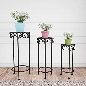 Pure Garden 50-LG1147 Stands – Set of 3 Indoor or Outdoor Nesting Wrought Iron Metal Round Decorative Potted Plant Accent Display Accessories (Black)
