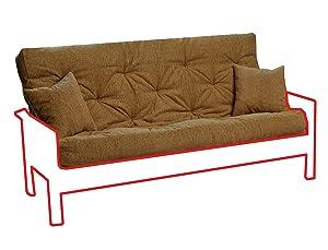 Memory Foam Futon Mattress Beige Upholstery Fabric with 2 Matching Pillows
