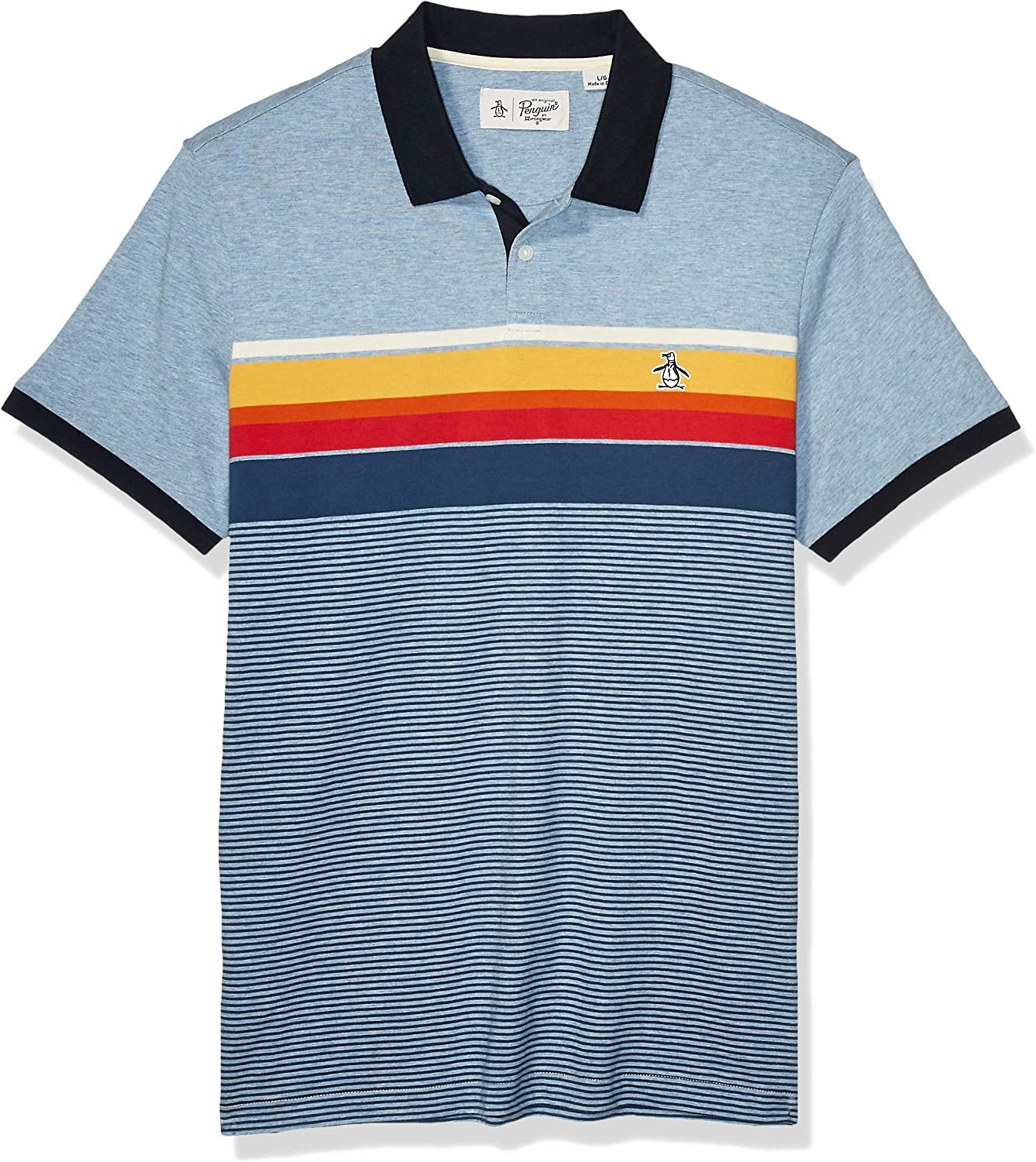 Original Penguin Mens Short Sleeve Stripe Polo