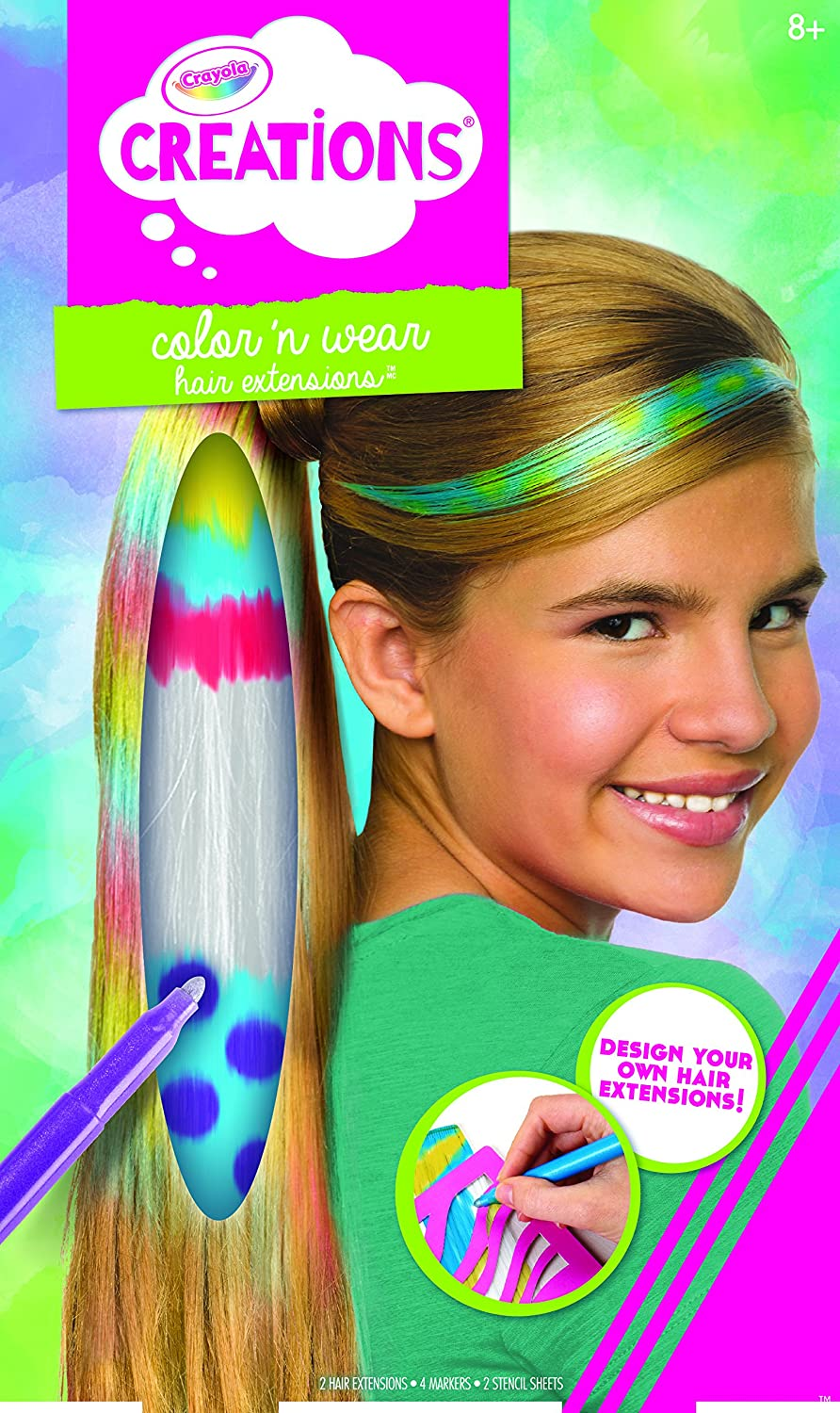 amazon com crayola color and clip hair extensions toys games
