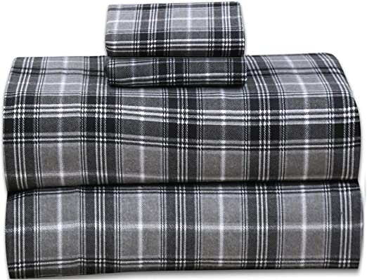 Amazon Com Ruvanti 100 Cotton 4 Pcs Flannel Sheets King Deep Pocket Warm Super Soft Breathable King Size Flannel Bed Sheets Set Include Flat Sheet Fitted Sheet 2 Pillow Cases Buffalo Check Grey Plaid Home