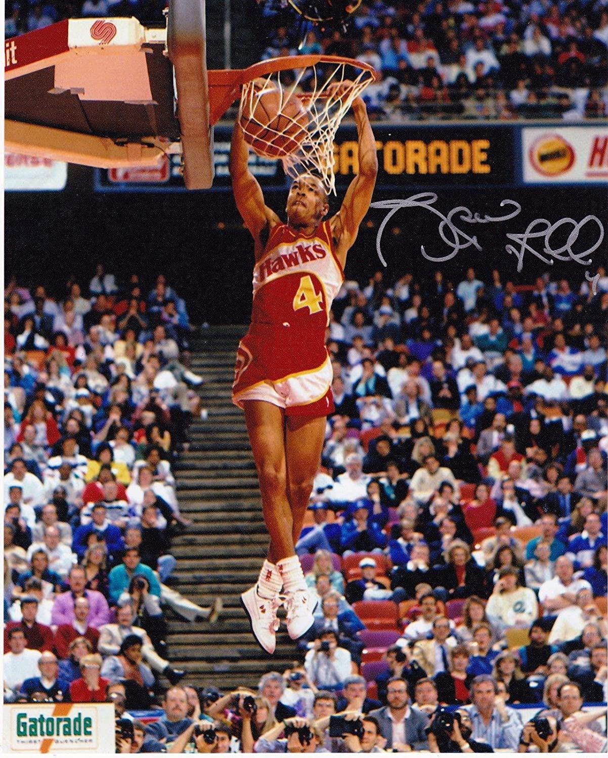 Spud Webb Signed SLAM DUNK CONTEST 8x10 Autographed NBA