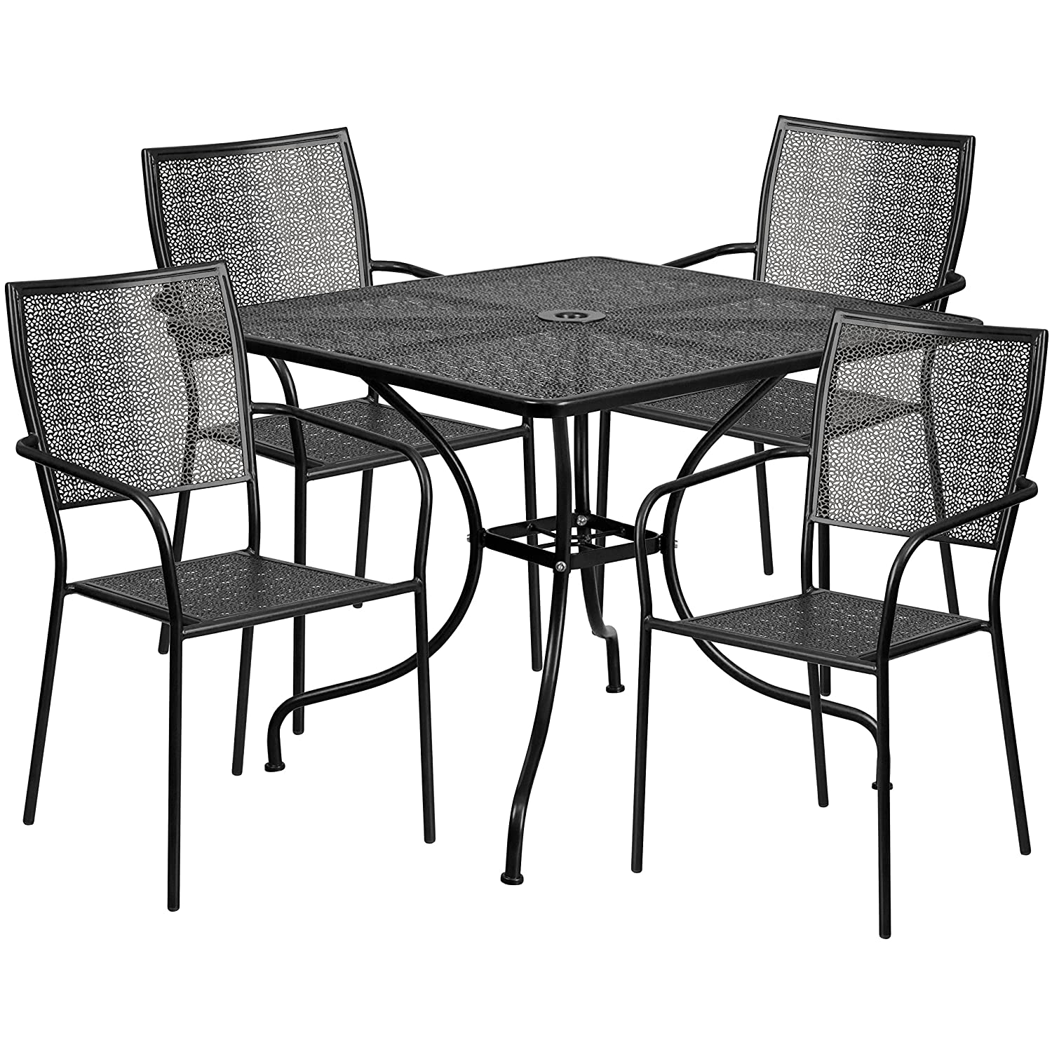 Flash Furniture 35.5 Square Black Indoor-Outdoor Steel Patio Table Set with 4 Square Back Chairs