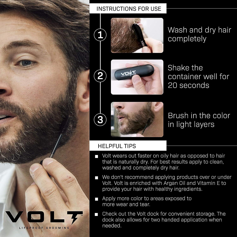 VOLT GroomingVOLT Grooming Color de barba instantáneo – Cepillo de secado rápido impermeable en color para barbas y bigotes, , , Ónix (negro),, ...