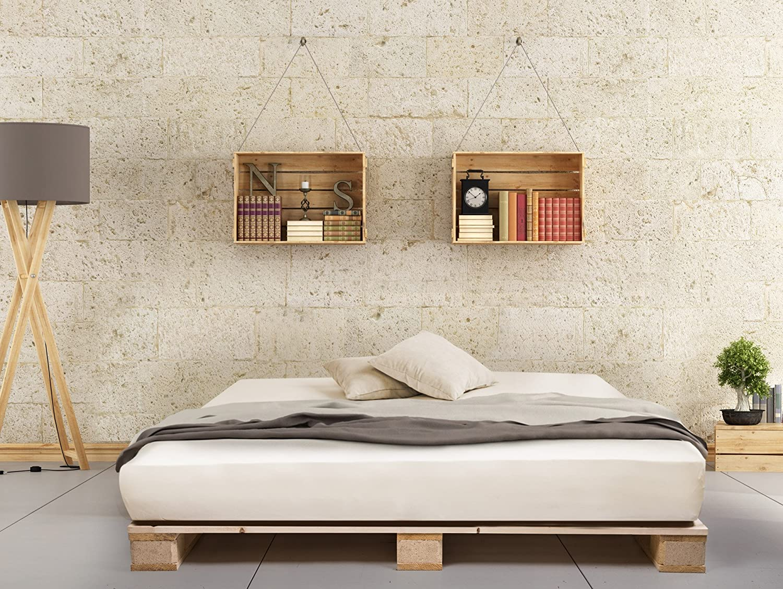 PALETTI Palettenbett Massivholzbett Holzbett Bett aus Paletten mit ...