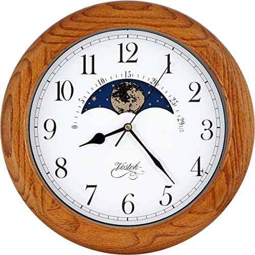 14 Inch Exclusive Solid OAK Wood Non-ticking Sweep Mechanical Specialty Moon Phase Moving Dial Wall Clock, Gift, Home D cor TCWS712-MD-OAK