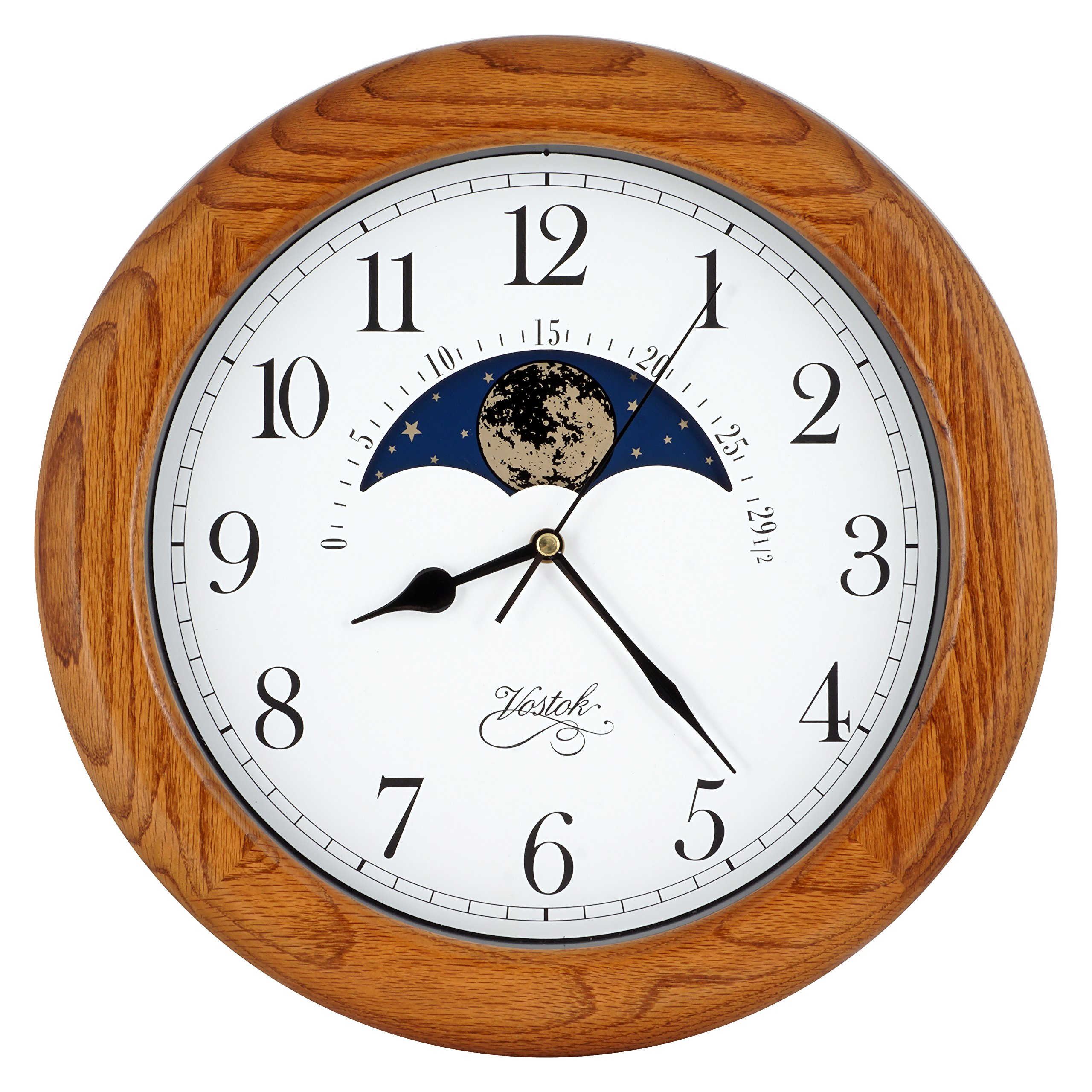 14 Inch Exclusive Solid OAK Wood Non-ticking Sweep Mechanical Specialty Moon Phase Moving Dial Wall Clock, Gift, Home Décor (TCWS712-MD-OAK)