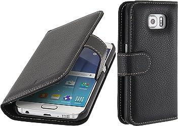 StilGut Talis, Custodia in Vera Pelle per Samsung Galaxy S6 con Tasche per Carte di Credito, Biglietti da Visita e Banconote, Nero