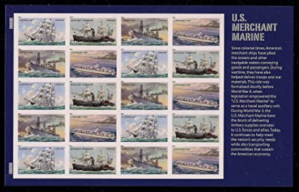 Merchant Marine Sheet of 20 Mint NH US Postage Forever Stamps 4548-4551 by USPS U.S