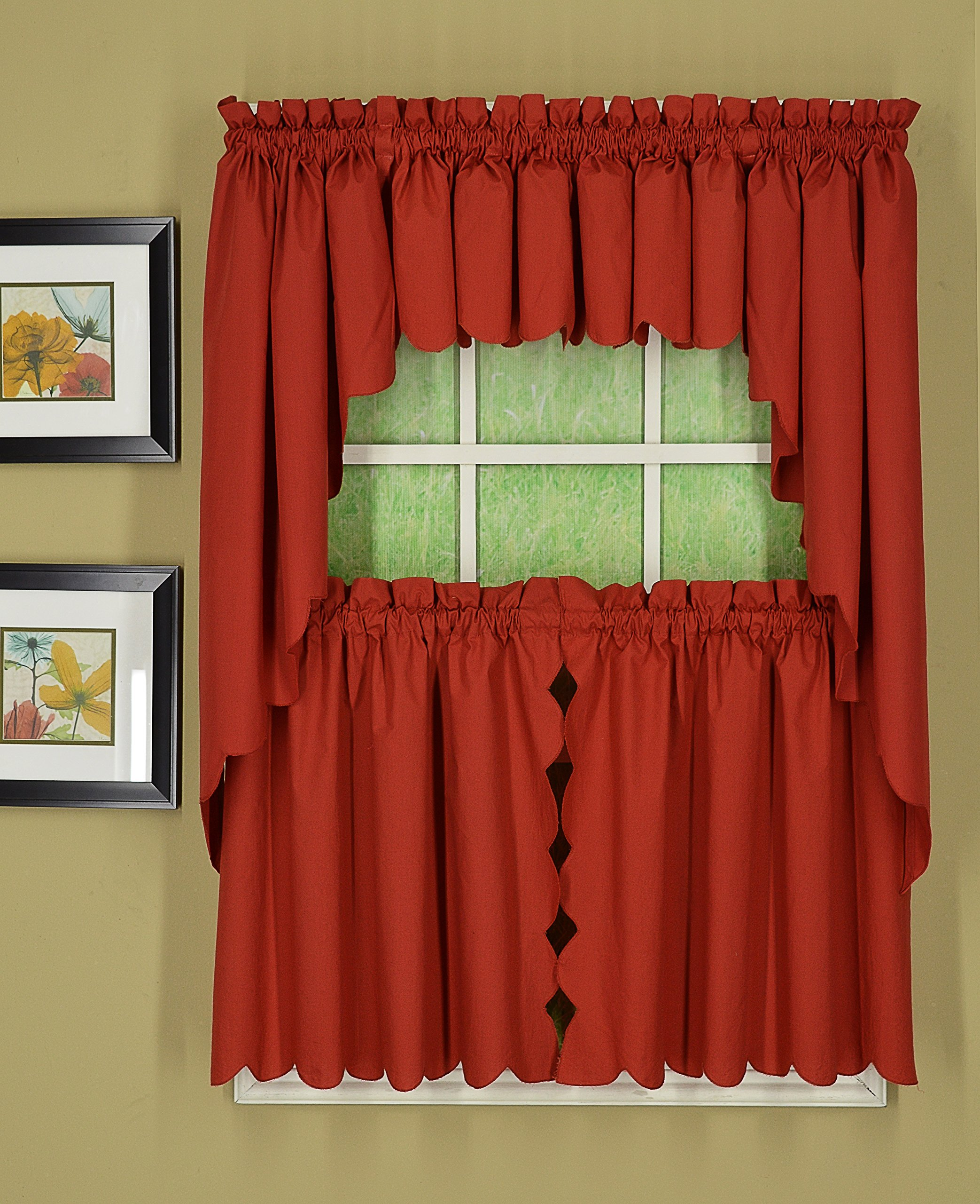Today's Curtain CA2003K Orleans 38'' Swag Pair Tambour Scallop Edge Curtain, Brick Red, 60'' W x 38'' L