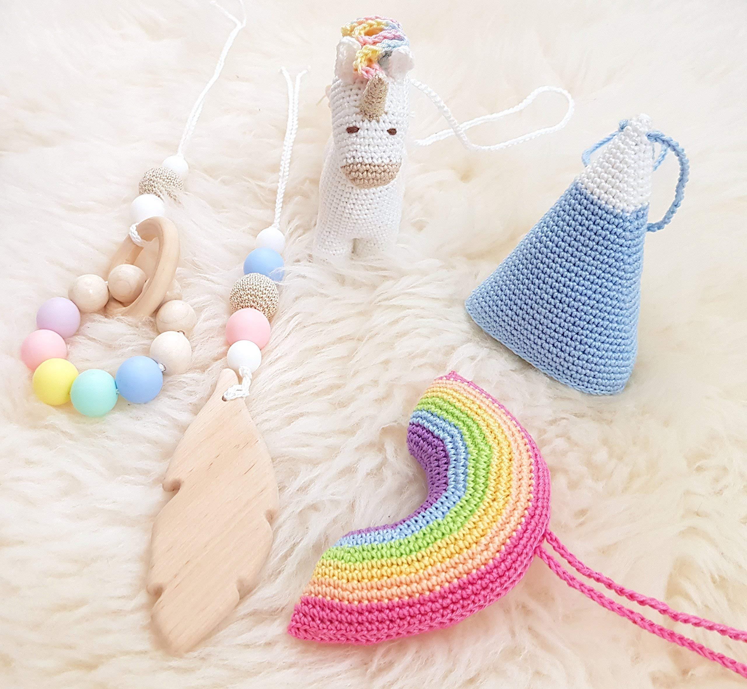 Rainbow Unicorn Baby Play Gym with 5 Mobiles: Unicorn, Rainbow, Mountain, Feather, Beaded Ring. Handmade by… 9