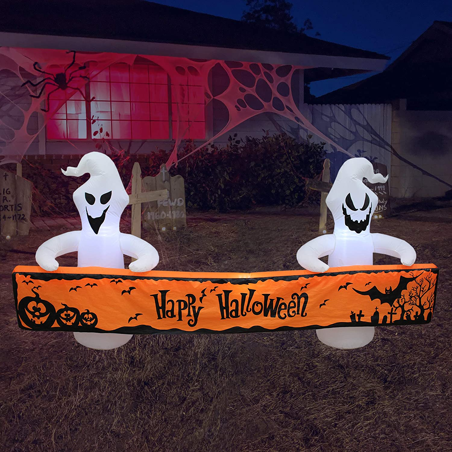 8 Foot Long Lighted Halloween Inflatable White Ghosts with Orange Banner LED Lights Decor Outdoor Indoor Holiday Decorations, Blow up Lighted Yard Decor, Giant Lawn Inflatables Home Family Outside