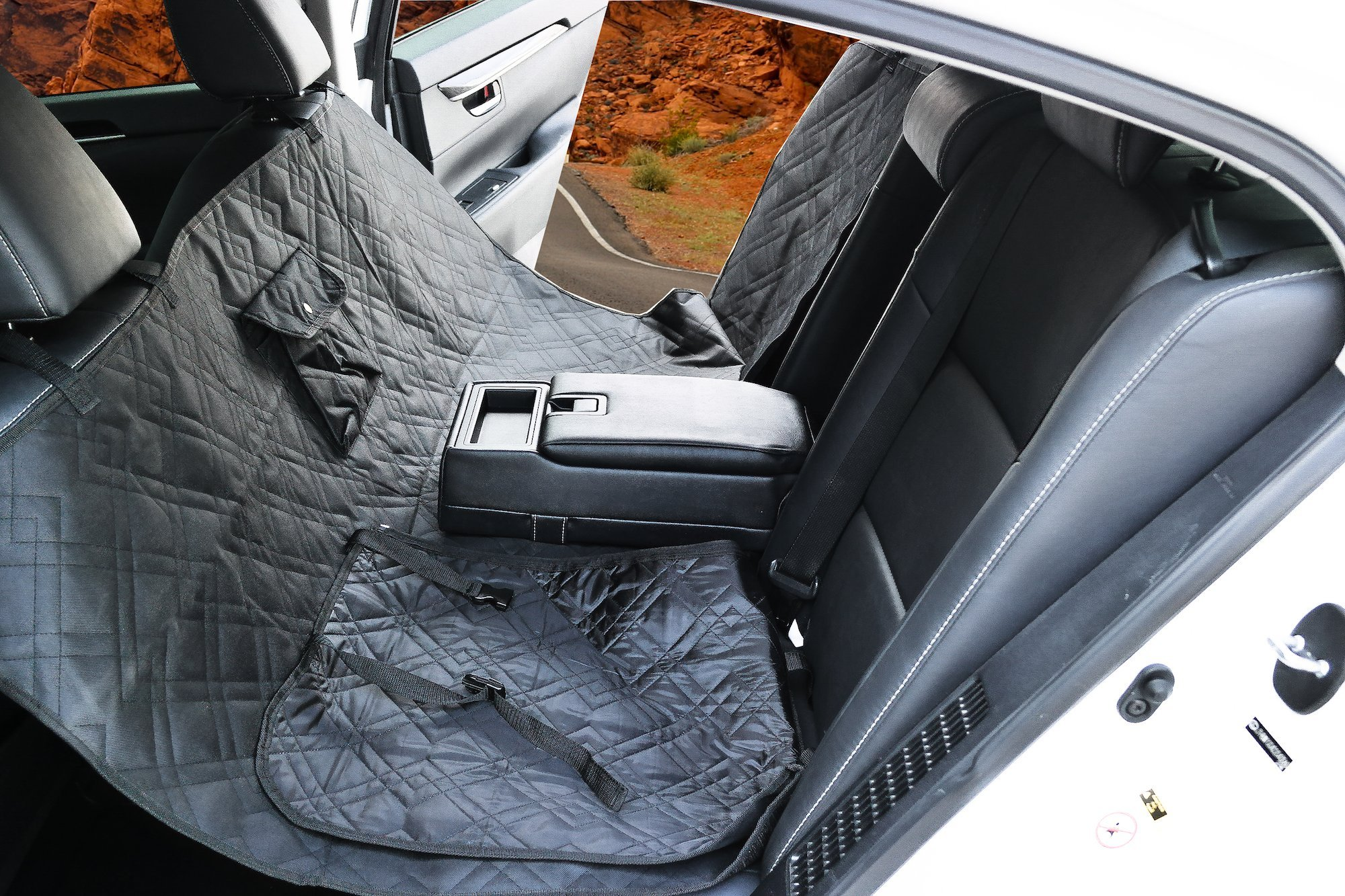 Pet Seat Cover by MADY | Dog Car Seat Cover Backseat cover for Pets - Hammock, Quilted, Padded, Durable Pet Seat Covers for Cars Trucks and SUVs - KEEP THE PAWS OF YOUR CARS! - Black, Nonslip