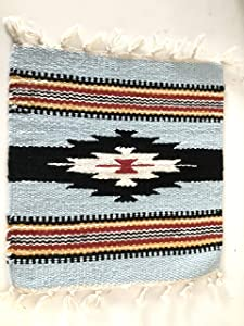 Essential Goods 4 Pack Native American Mats, Small Placemats, Pot Holders, Pet Food Underlines, Plant Holders (Blue Black)