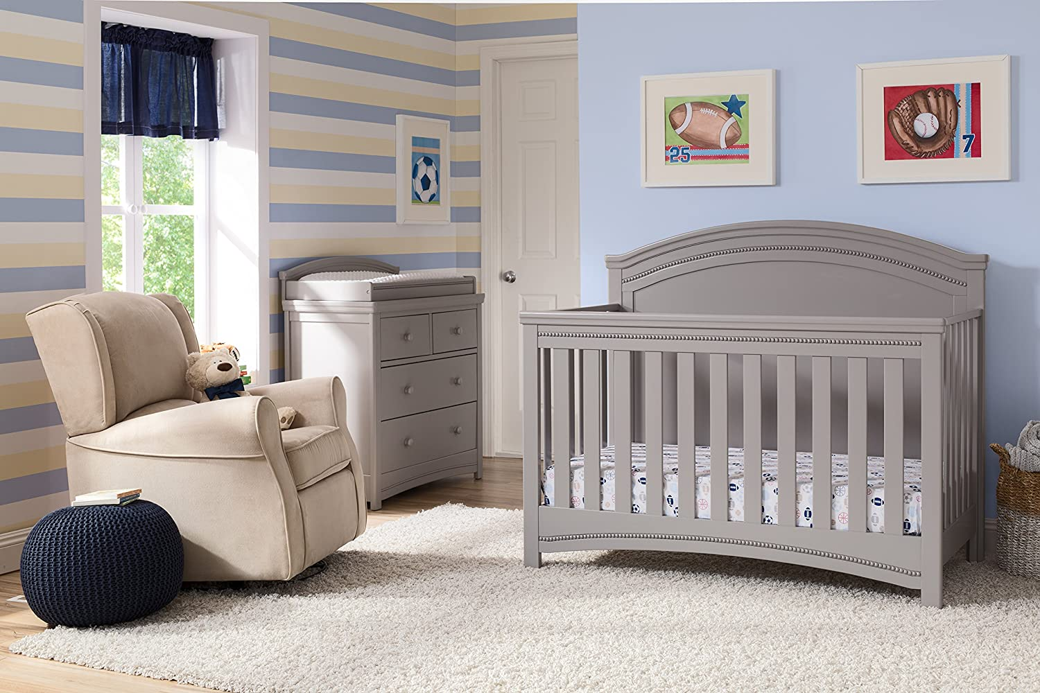 Simmons Kids SlumberTime Emma Convertible Baby Crib N More, Grey