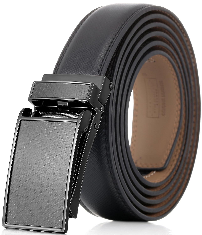 Marino Avenue メンズ 本革ラチェットドレスベルト Linxxバックル付 エレガントなギフトボックス入り B01CYUJLSA XL|Gunblack Glossy Design Buckle With Black Leather Gunblack Glossy Design Buckle With Black Leather XL