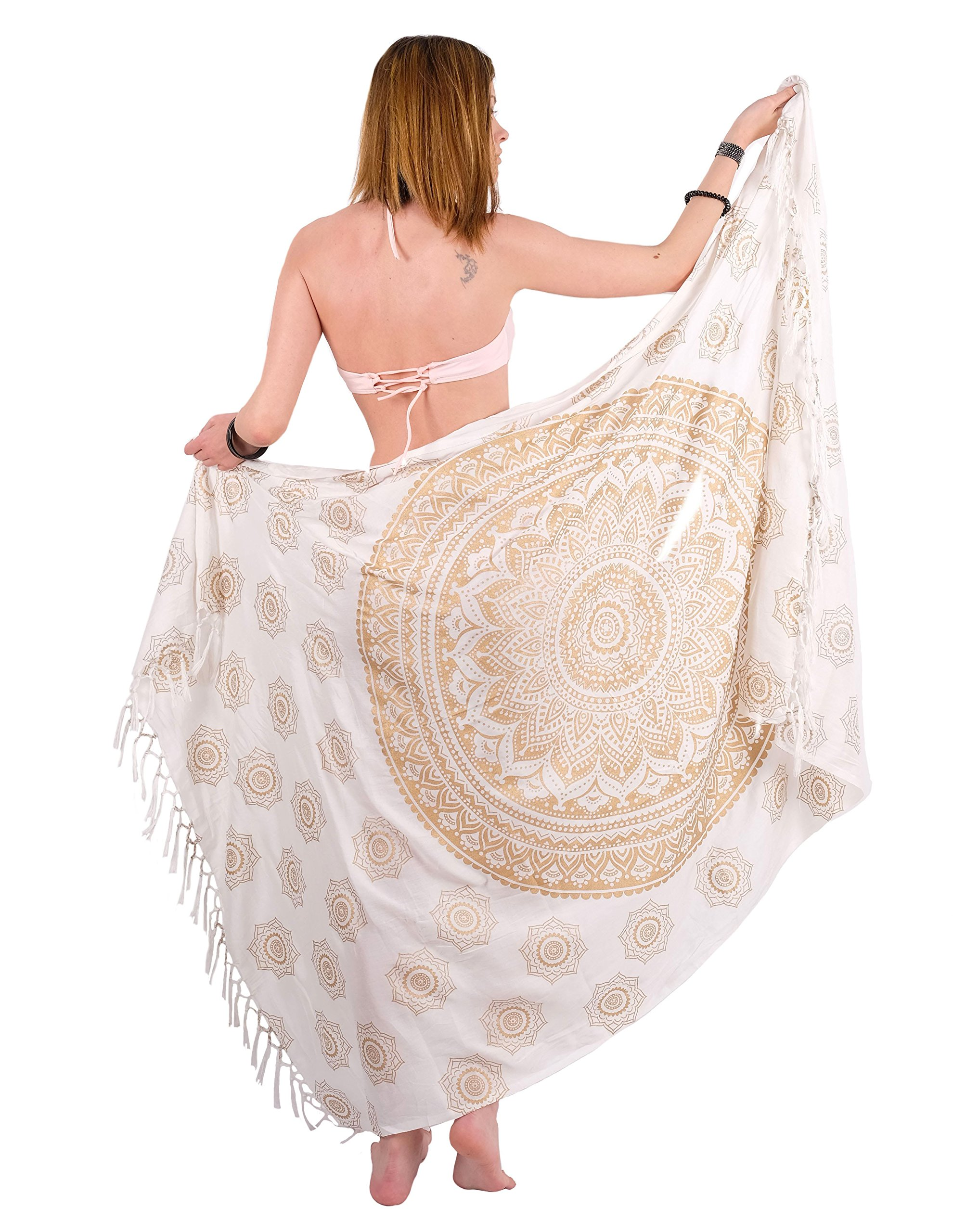 Boho Chic Sarong Gorgeous Hand-Printed Bohemian Pareo Endlessly Versatile Uses Bikini Swimsuit Cover Up,Beach Blanket,Tapestry,Dress,Wall Hanging,Throw by Mandala Life ART,Gold Lotus,Large