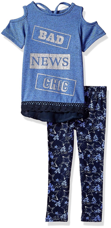 Dreamstar Girls Cold Shoulder Top W//Printed Leggings Set