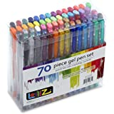 LolliZ® 70 Gel Pens Tray Set, 70 Unique Color Choices. Ideal for Adult colouring book or kids drawing!