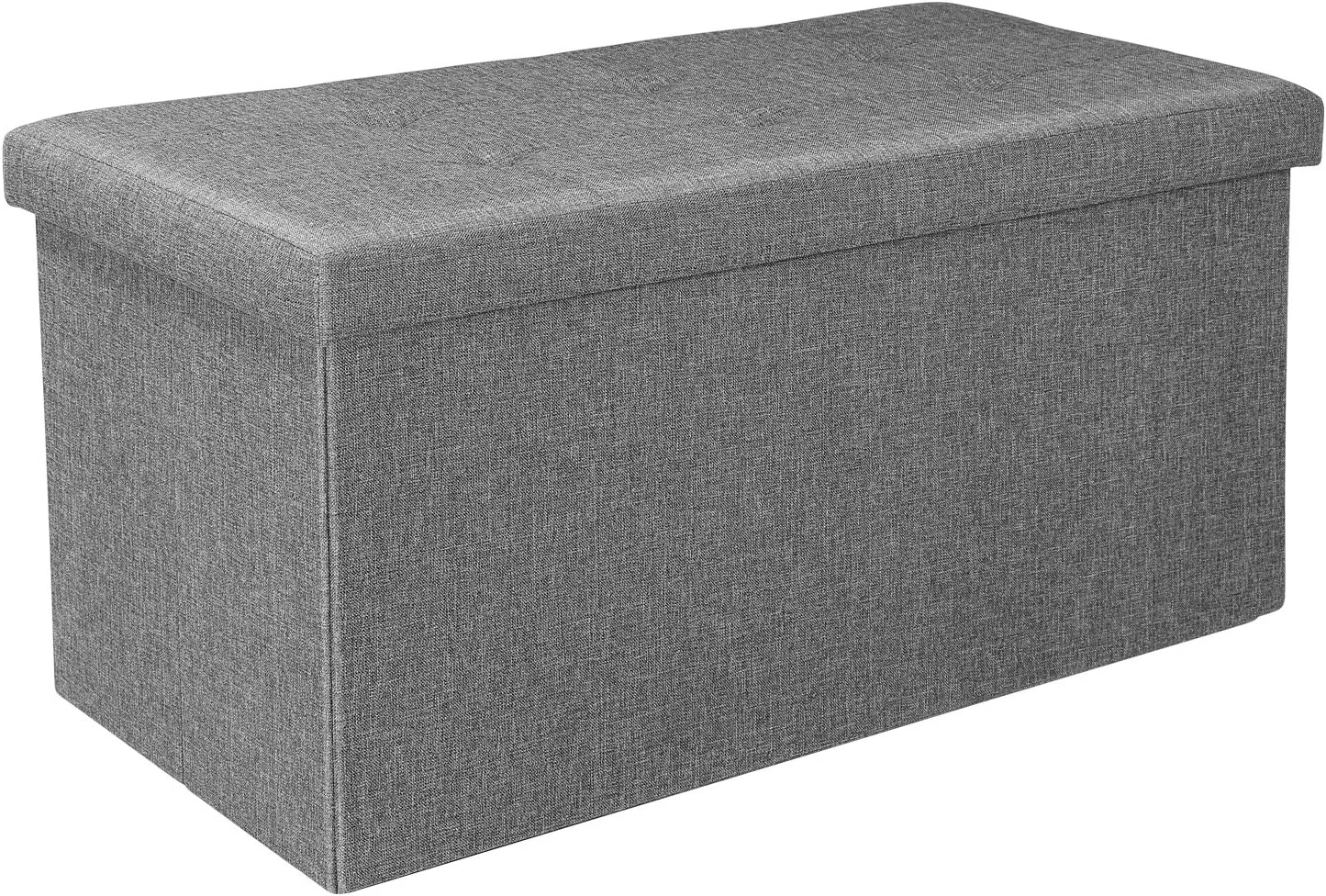 Bonlife Ottoman Storage Boxes,Footstools and Pouffes with Storage Bench Shoe Box Coffee Table Grey, 76.5x38x38cm Linen