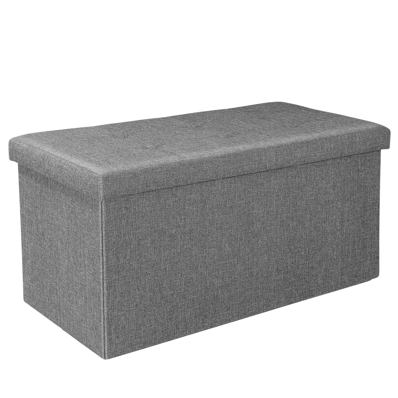 Bonlife pieghevole stoccaggio ottomano doppio sedile poggiapiedi Toy box panca a due posti grigio lino (76.5cm x 38cm x 37.5cm) Bella&Leo