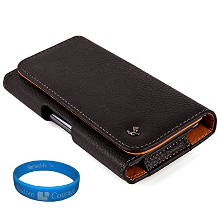 sports shoes ebfe0 5e942 Black Textured Leather Protective Holster Carrying Case (Horizontal) for  Boost Mobile ZTE Warp Sequent Android Phone + SumacLife TM Wisdom Courage  ...
