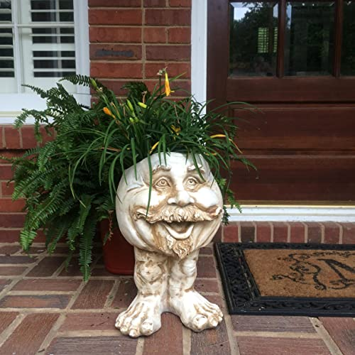 Muggly's Homestyles 37105 Uncle Nate Planter 18″ Antique White Garden Statue