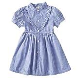 子供服 女の子 シャツワンピース条紋短袖 半袖 长袖 ボーダーワンピース 可愛い