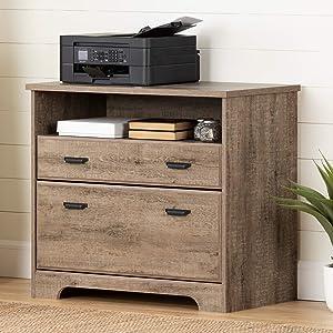 South Shore Versa 2-Drawer File Cabinet-Weathered Oak