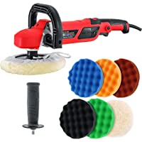 """TCP Global 7"""" Professional High Performance Variable Speed Polisher with a 6 Pad Buffing and Polishing Kit - Includes 5-8"""" Waffle Foam & 1-8"""" Wool Grip Pads and a Pad Cleaning Spur"""
